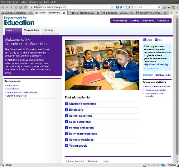 Department for Education home page, 25 May 2010