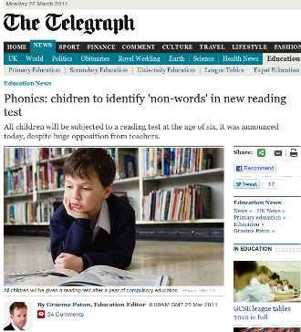 Telegraph phonics blooper