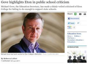 Michael Gove's new photo in the Telegraph